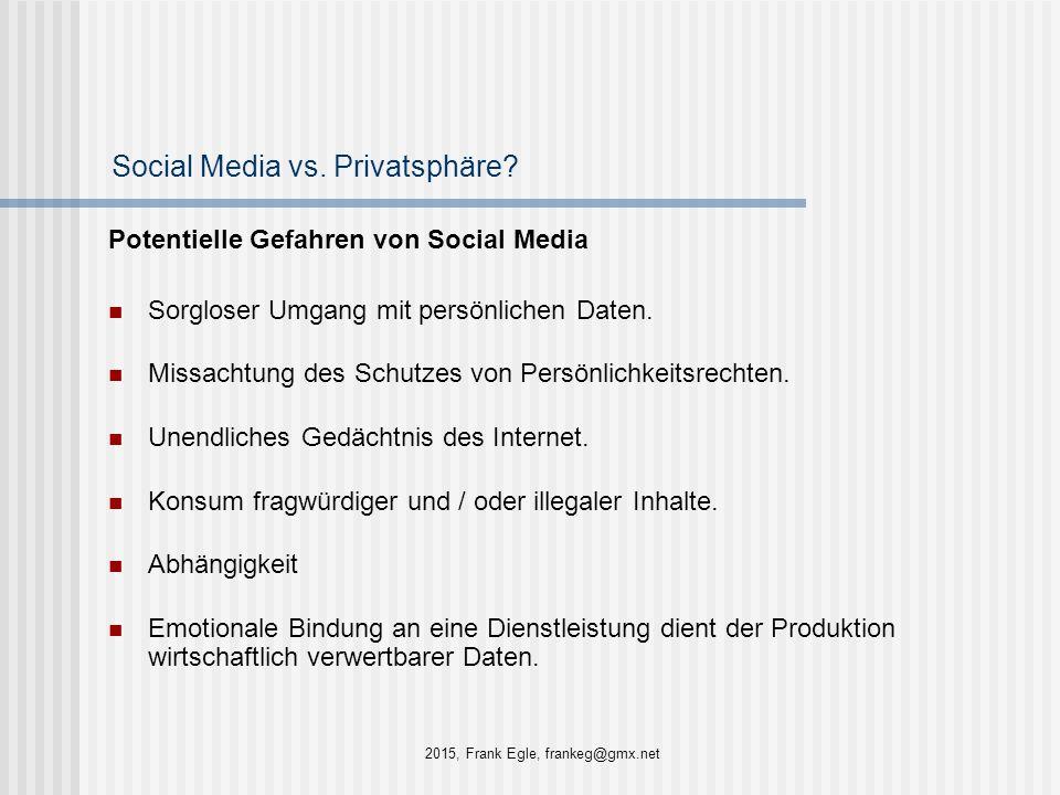 Social Media vs. Privatsphäre? Potentielle Gefahren von Social Media Sorgloser Umgang mit persönlichen Daten. Missachtung des Schutzes von Persönlichk