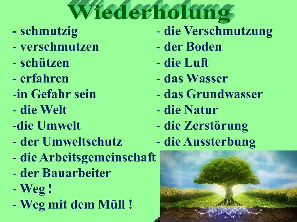 - schmutzig - verschmutzen - schützen - erfahren -in Gefahr sein - die Welt -die Umwelt - der Umweltschutz - die Arbeitsgemeinschaft - der Bauarbeiter - Weg .