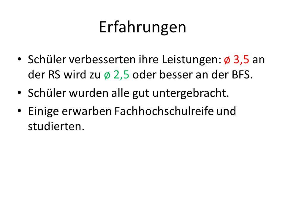 Erfahrungen Schüler verbesserten ihre Leistungen: ø 3,5 an der RS wird zu ø 2,5 oder besser an der BFS. Schüler wurden alle gut untergebracht. Einige