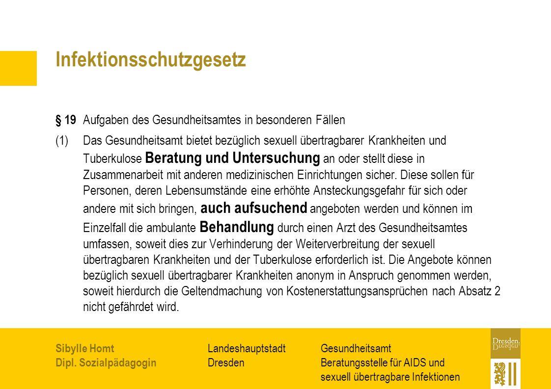 Gesundheitsamt Beratungsstelle für AIDS und sexuell übertragbare Infektionen Landeshauptstadt Dresden Sibylle Homt Dipl. Sozialpädagogin Infektionssch