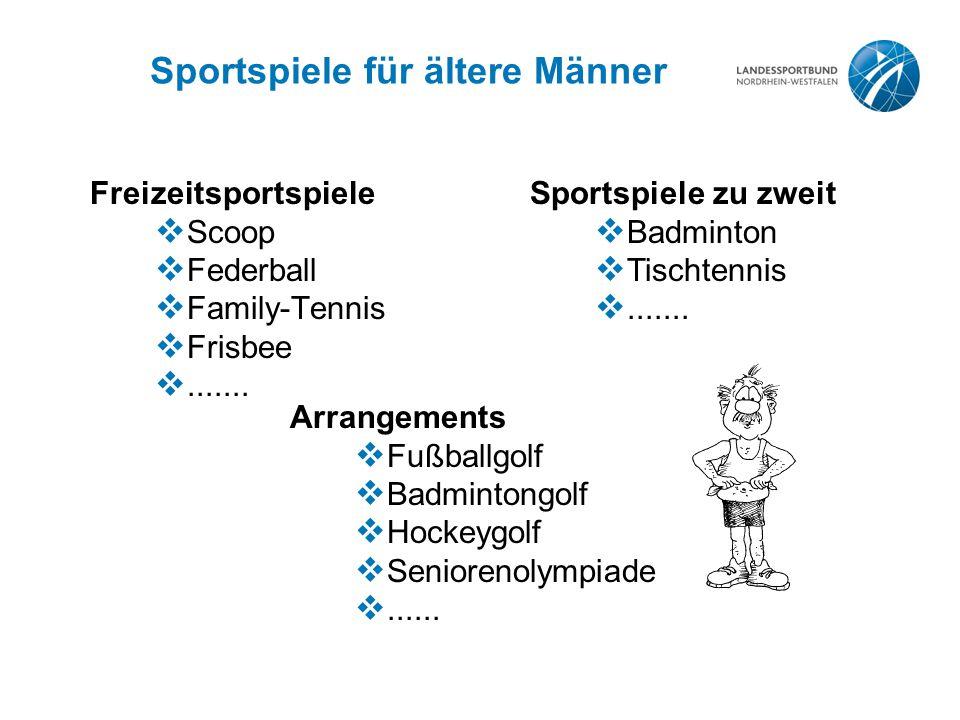 Sportspiele für ältere Männer Freizeitsportspiele  Scoop  Federball  Family-Tennis  Frisbee .......