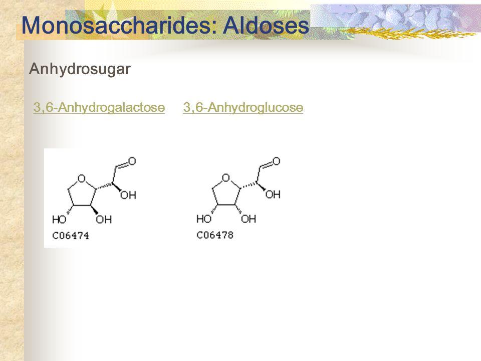 Anhydrosugar 3,6-Anhydrogalactose 3,6-Anhydroglucose Monosaccharides: Aldoses