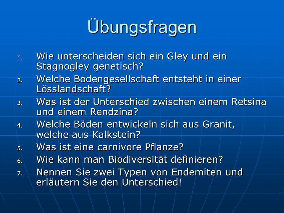 Übungsfragen 1.Wie unterscheiden sich ein Gley und ein Stagnogley genetisch.