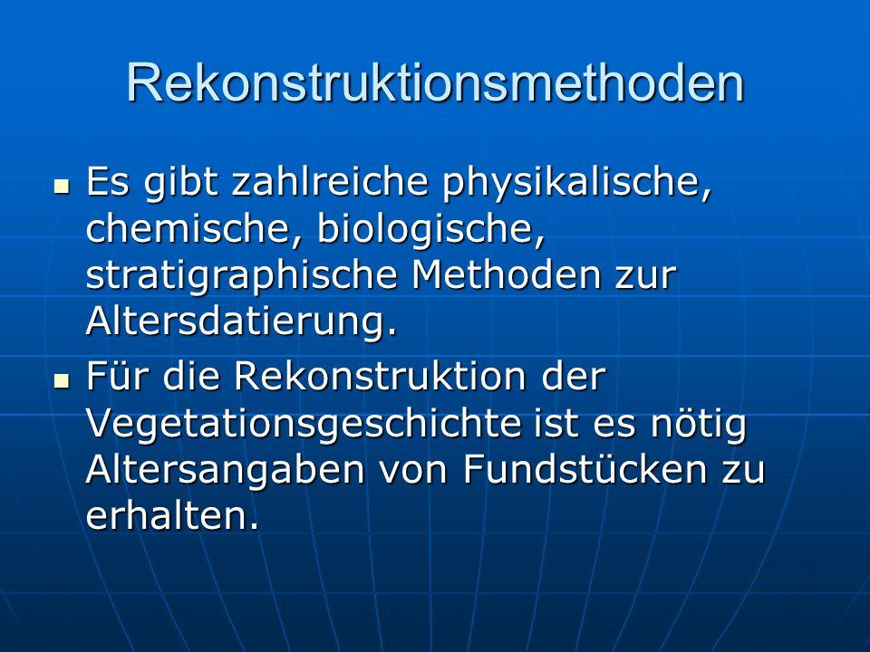 Rekonstruktionsmethoden Es gibt zahlreiche physikalische, chemische, biologische, stratigraphische Methoden zur Altersdatierung.