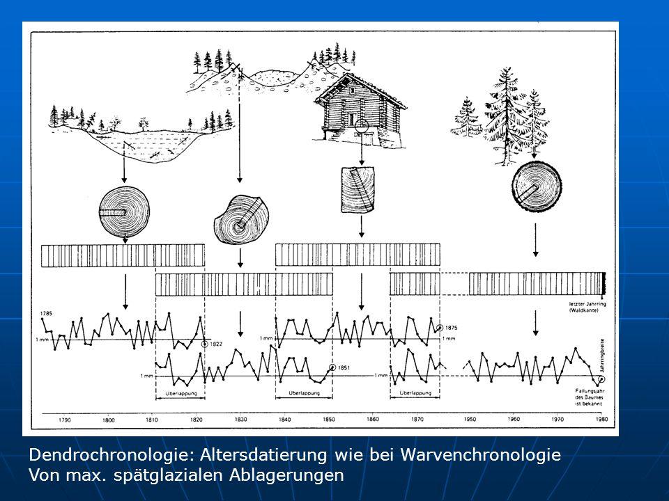 Dendrochronologie: Altersdatierung wie bei Warvenchronologie Von max. spätglazialen Ablagerungen
