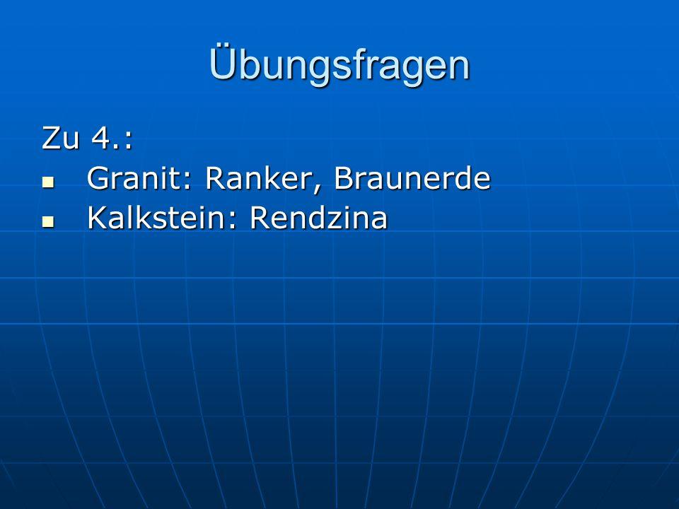 Übungsfragen Zu 4.: Granit: Ranker, Braunerde Granit: Ranker, Braunerde Kalkstein: Rendzina Kalkstein: Rendzina
