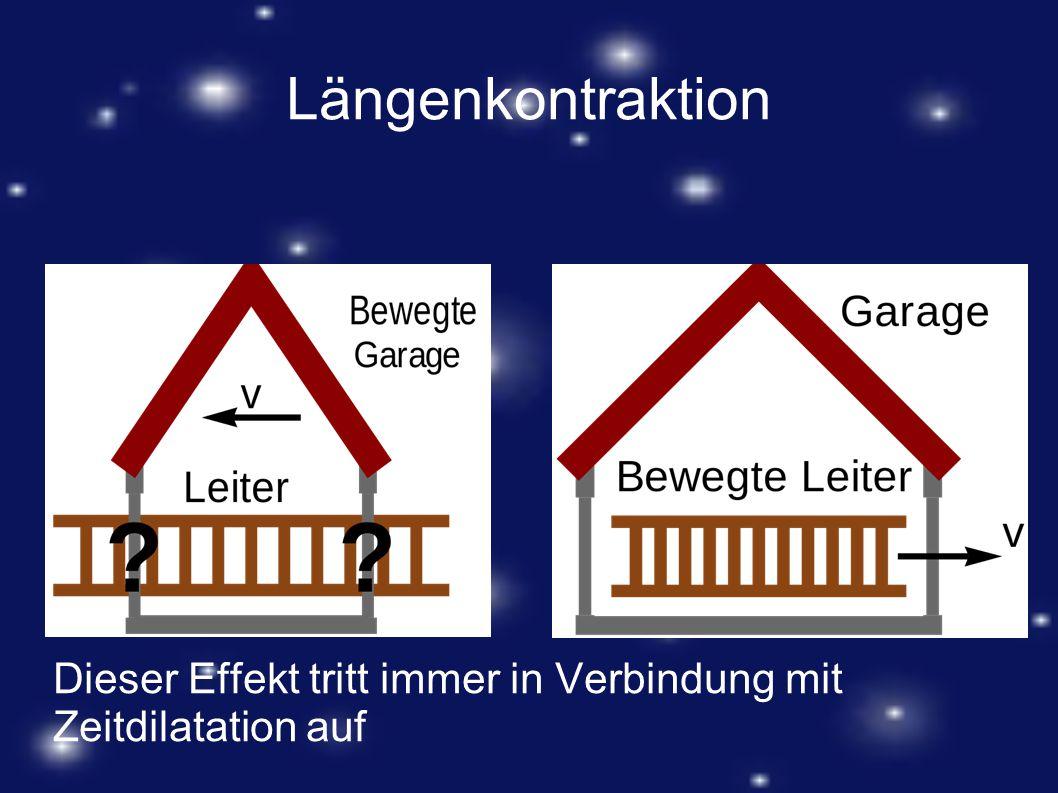 Längenkontraktion Dieser Effekt tritt immer in Verbindung mit Zeitdilatation auf
