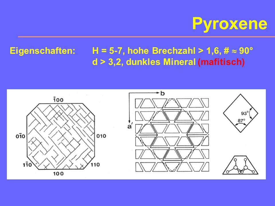 3. Pyroxene Wichtige Mineralgruppe mit 11% Anteil an der Erdkruste. Chemismus und Kristallographie: AB[Si 2 O 6 ] 2 Untergruppen: - Orthopyroxene (ort