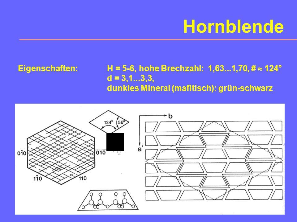 4. Amphibole Wichtige Mineralgruppe mit 5% Anteil an der Erdkruste. Chemismus und Kristallographie: A B 1,5...2,5 C [(OH, F) / Si 4 O 11 ] Amphibole s