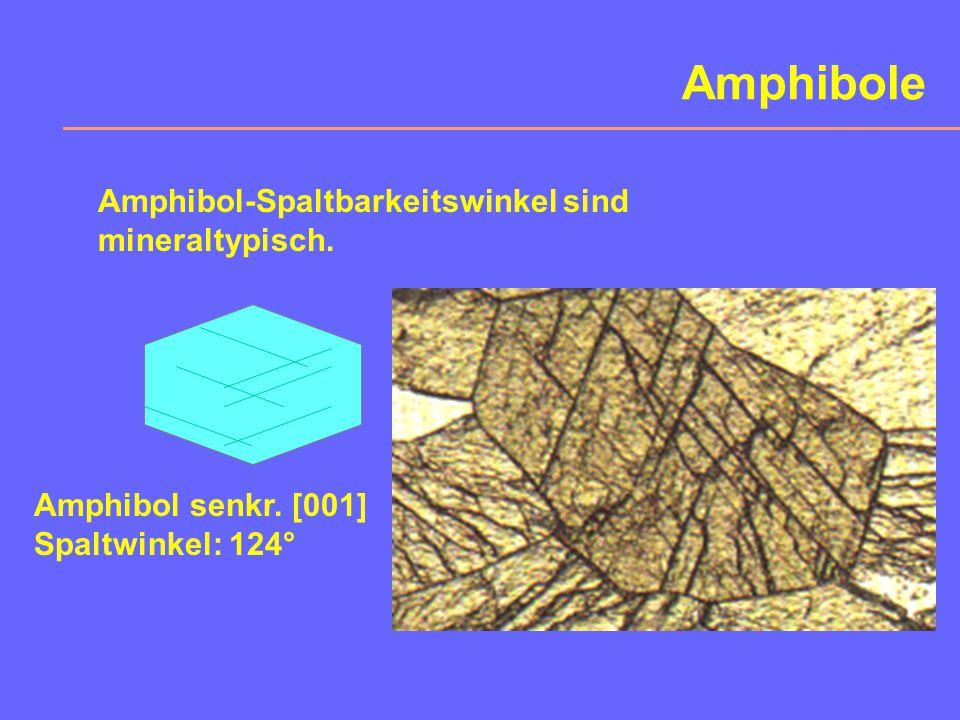 Hornblende Eigenschaften:H = 5-6, hohe Brechzahl: 1,63...1,70, #  124° d = 3,1...3,3, dunkles Mineral (mafitisch): grün-schwarz