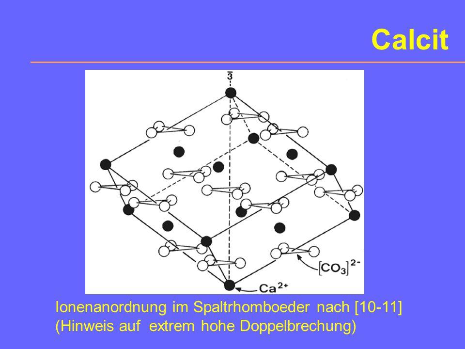 """8. Calcit Wichtiges """"Durchläufer""""-Mineral. Chemismus: CaCO 3 Polymorphie mit Aragonit und Vaterit partielle Mischbarkeit mit Dolomit CaMg(CO 3 ) 2, un"""