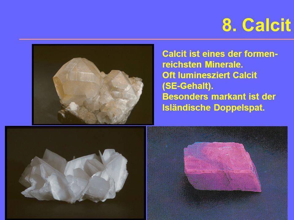 Calcit - Dolomit Ätzfiguren auf Calcit (links) und Dolomit (rechts)