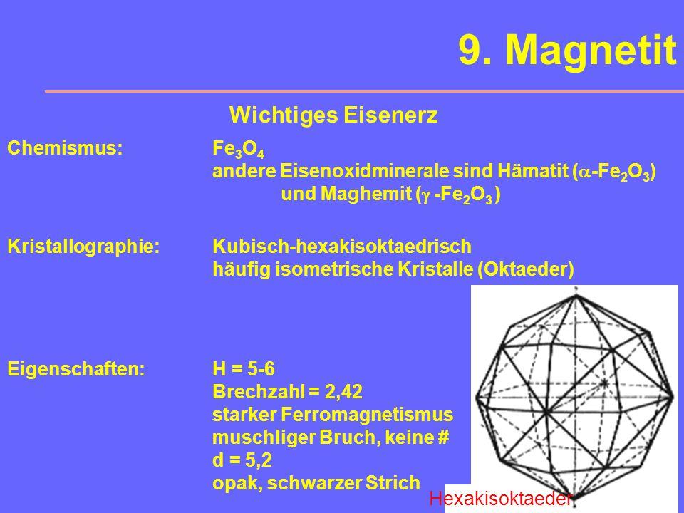 8. Calcit Calcit ist eines der formen- reichsten Minerale. Oft luminesziert Calcit (SE-Gehalt). Besonders markant ist der Isländische Doppelspat.