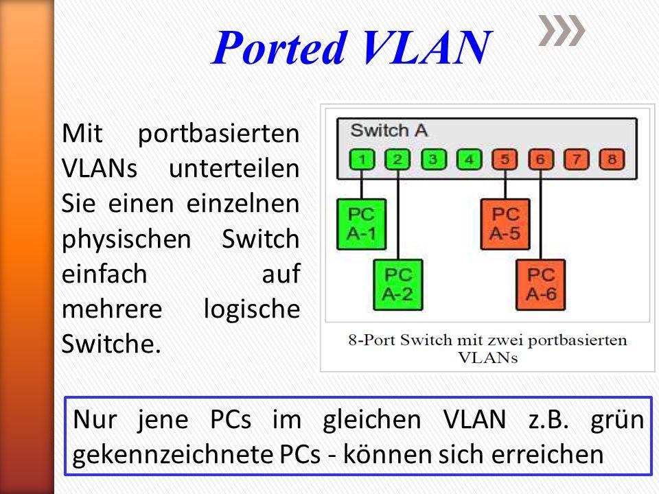 Ported VLAN Mit portbasierten VLANs unterteilen Sie einen einzelnen physischen Switch einfach auf mehrere logische Switche. Nur jene PCs im gleichen V