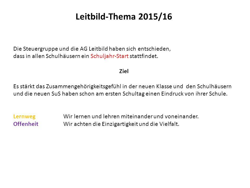 Leitbild-Thema 2015/16 Die Steuergruppe und die AG Leitbild haben sich entschieden, dass in allen Schulhäusern ein Schuljahr-Start stattfindet. Ziel E