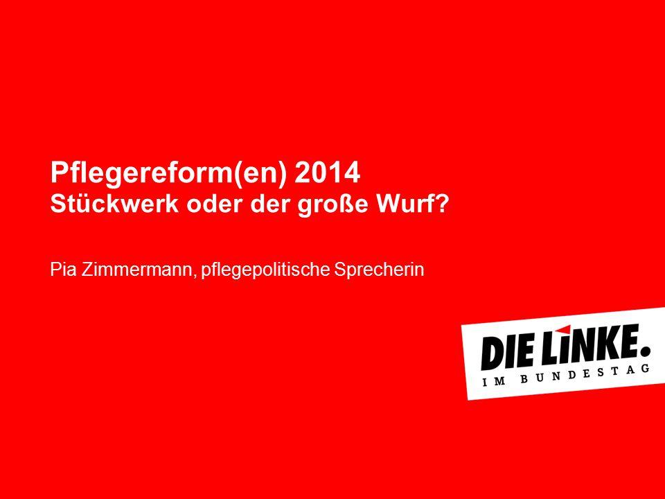 Pflegereform(en) 2014 Stückwerk oder der große Wurf? Pia Zimmermann, pflegepolitische Sprecherin