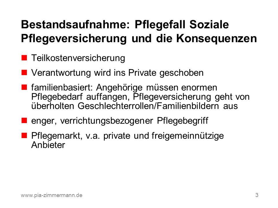 Bestandsaufnahme: Pflegefall Soziale Pflegeversicherung und die Konsequenzen Teilkostenversicherung Verantwortung wird ins Private geschoben familienb