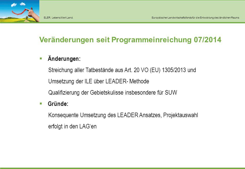 ELER. LebensWert Land.Europäischer Landwirtschaftsfonds für die Entwicklung des ländlichen Raums Veränderungen seit Programmeinreichung 07/2014  Ände