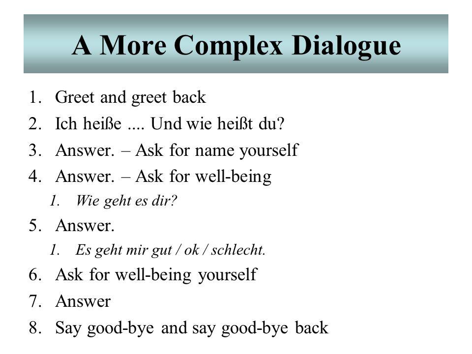 """A Simple Dialogue Einfacher Dialog: """"Guten Tag."""" """"Ich heiße [Michael]. Und wie heißt du?"""" """"Ich heiße [Christine]."""" """"Auf Wiedersehen!"""""""