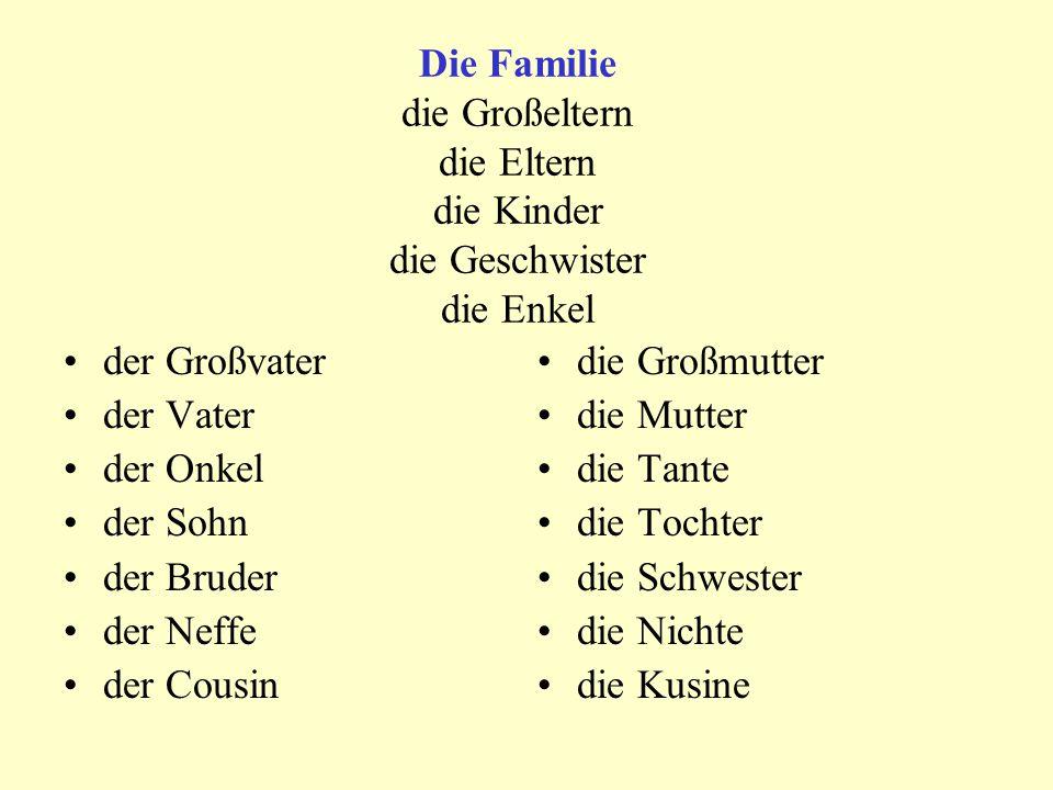 Die Familie die Großeltern die Eltern die Kinder die Geschwister die Enkel der Großvater der Vater der Onkel der Sohn der Bruder der Neffe der Cousin die Großmutter die Mutter die Tante die Tochter die Schwester die Nichte die Kusine