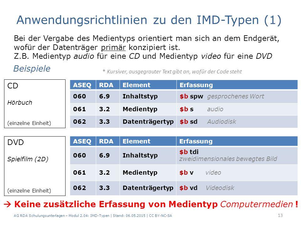 AG RDA Schulungsunterlagen – Modul 2.04: IMD-Typen | Stand: 06.05.2015 | CC BY-NC-SA 13 Bei der Vergabe des Medientyps orientiert man sich an dem Endgerät, wofür der Datenträger primär konzipiert ist.