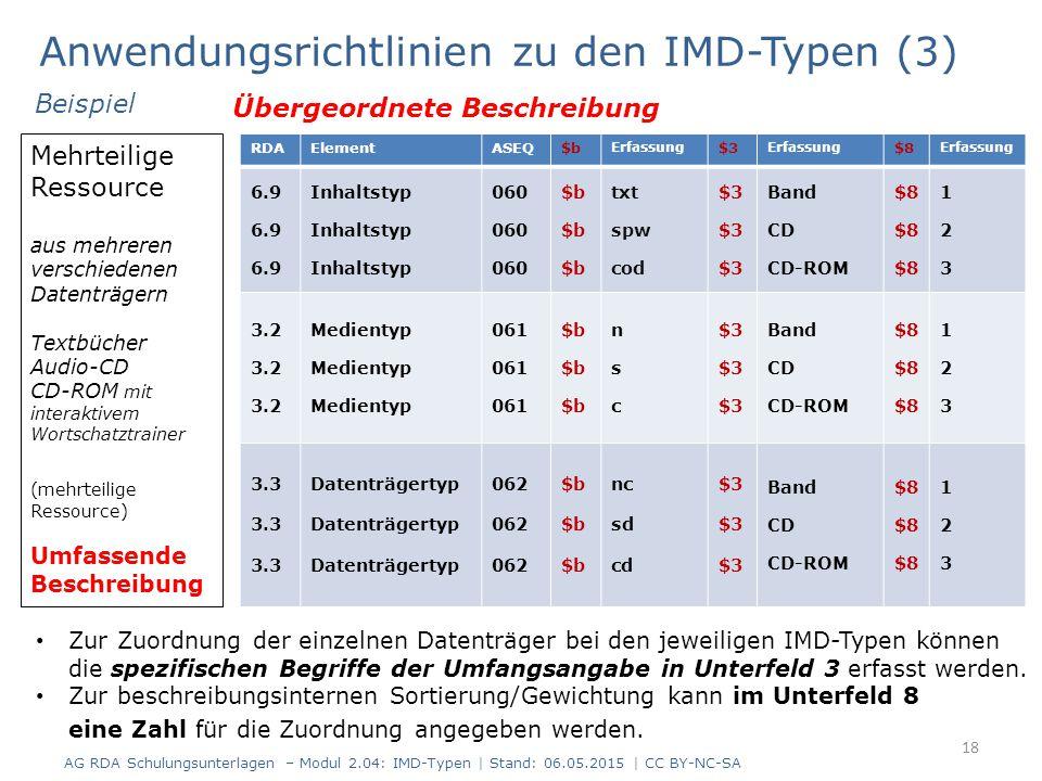 Anwendungsrichtlinien zu den IMD-Typen (3) 18 RDAElementASEQ$b Erfassung $3 Erfassung $8 Erfassung 6.9 Inhaltstyp 060 $b txt spw cod $3 Band CD CD-ROM