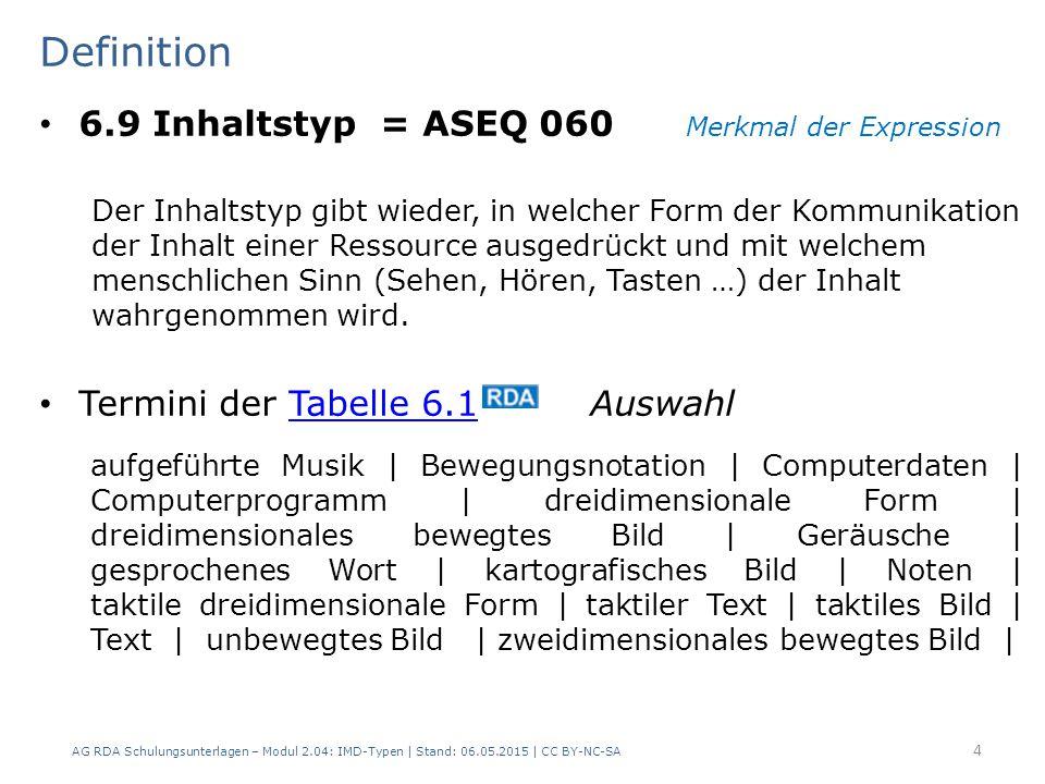 Definition 6.9 Inhaltstyp = ASEQ 060 Merkmal der Expression Der Inhaltstyp gibt wieder, in welcher Form der Kommunikation der Inhalt einer Ressource ausgedrückt und mit welchem menschlichen Sinn (Sehen, Hören, Tasten …) der Inhalt wahrgenommen wird.