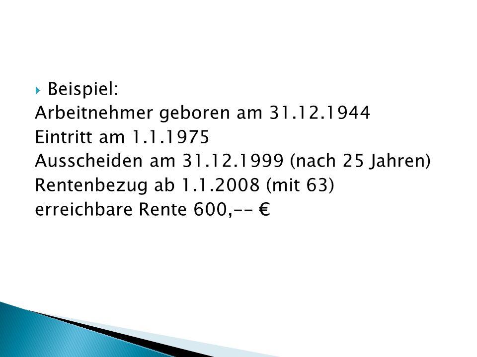  Beispiel: Arbeitnehmer geboren am 31.12.1944 Eintritt am 1.1.1975 Ausscheiden am 31.12.1999 (nach 25 Jahren) Rentenbezug ab 1.1.2008 (mit 63) erreichbare Rente 600,-- €