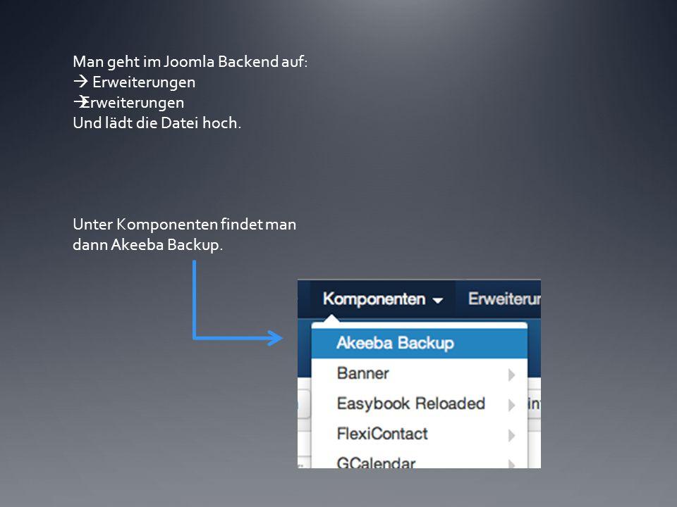 Man geht im Joomla Backend auf:  Erweiterungen Und lädt die Datei hoch.
