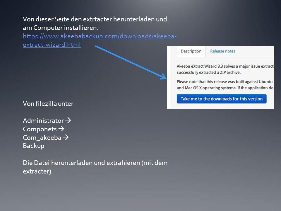 Mit der neuen Datenbank bei Filezilla anmelden und dort die soeben extrahierte Datei hochladen.