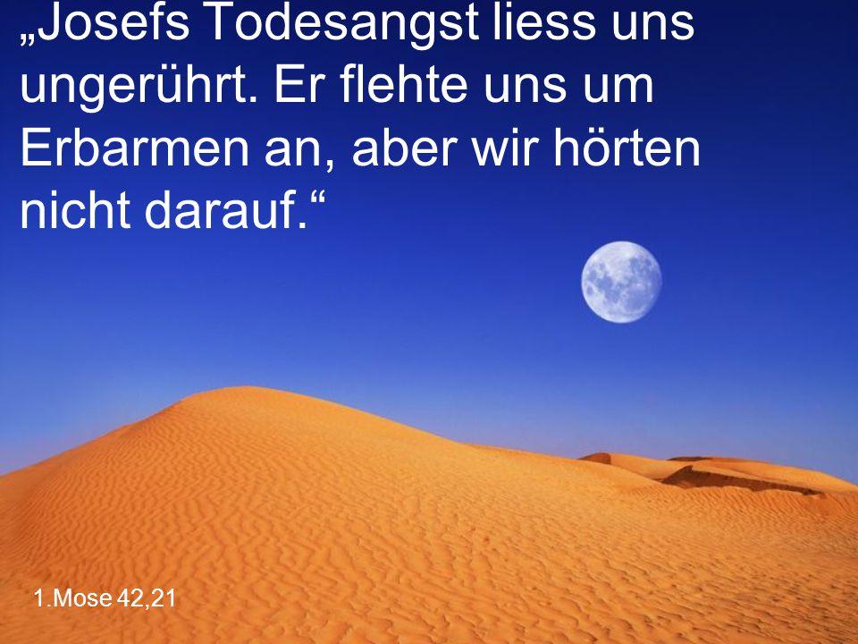 """1.Mose 42,21 """"Josefs Todesangst liess uns ungerührt. Er flehte uns um Erbarmen an, aber wir hörten nicht darauf."""""""