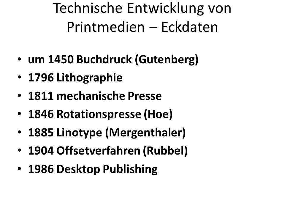 Technische Entwicklung von Printmedien – Eckdaten um 1450 Buchdruck (Gutenberg) 1796 Lithographie 1811 mechanische Presse 1846 Rotationspresse (Hoe) 1