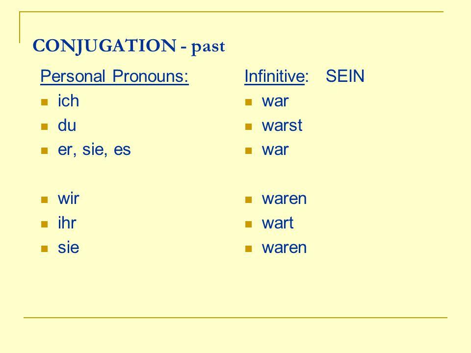 Personal Pronouns Possessives Sing.1. ich 2. du 3.