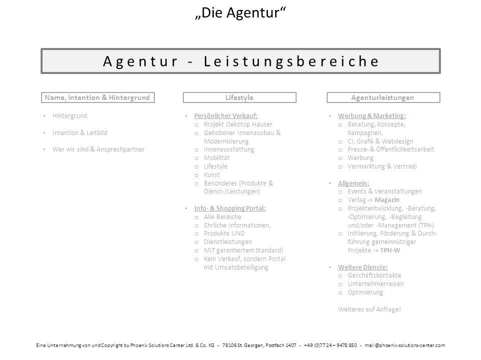 """A g e n t u r - L e i s t u n g s b e r e i c h e Name, Intention & Hintergrund """"Die Agentur"""" Eine Unternehmung von und Copyright by Phoenix Solutions"""