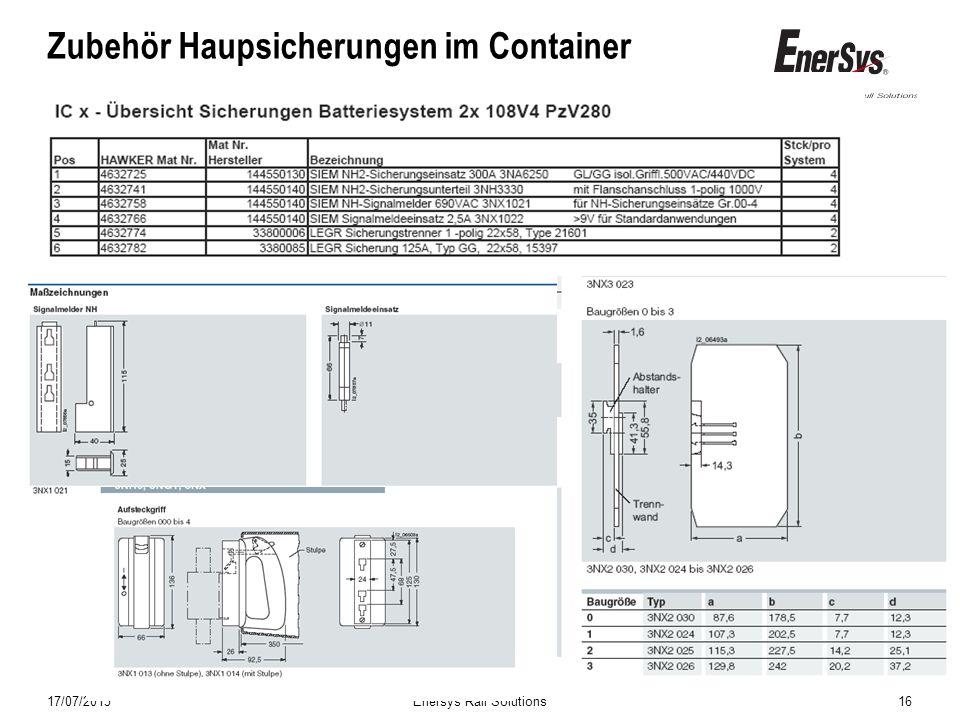 17/07/2015Enersys Rail Solutions16 Zubehör Haupsicherungen im Container