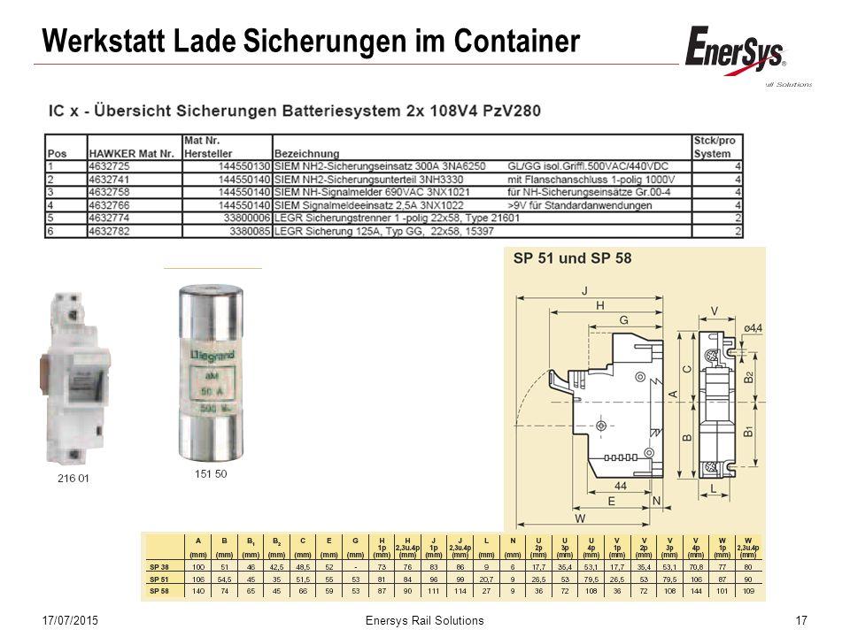 17/07/2015Enersys Rail Solutions17 Werkstatt Lade Sicherungen im Container