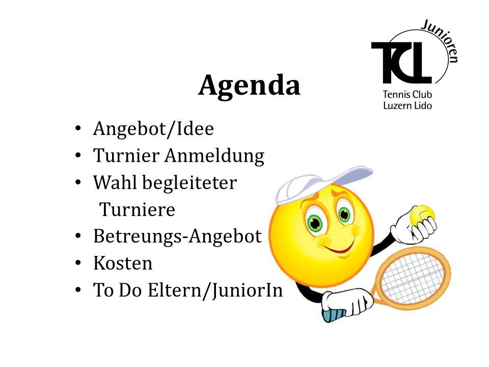 Agenda Angebot/Idee Turnier Anmeldung Wahl begleiteter Turniere Betreungs-Angebot Kosten To Do Eltern/JuniorIn