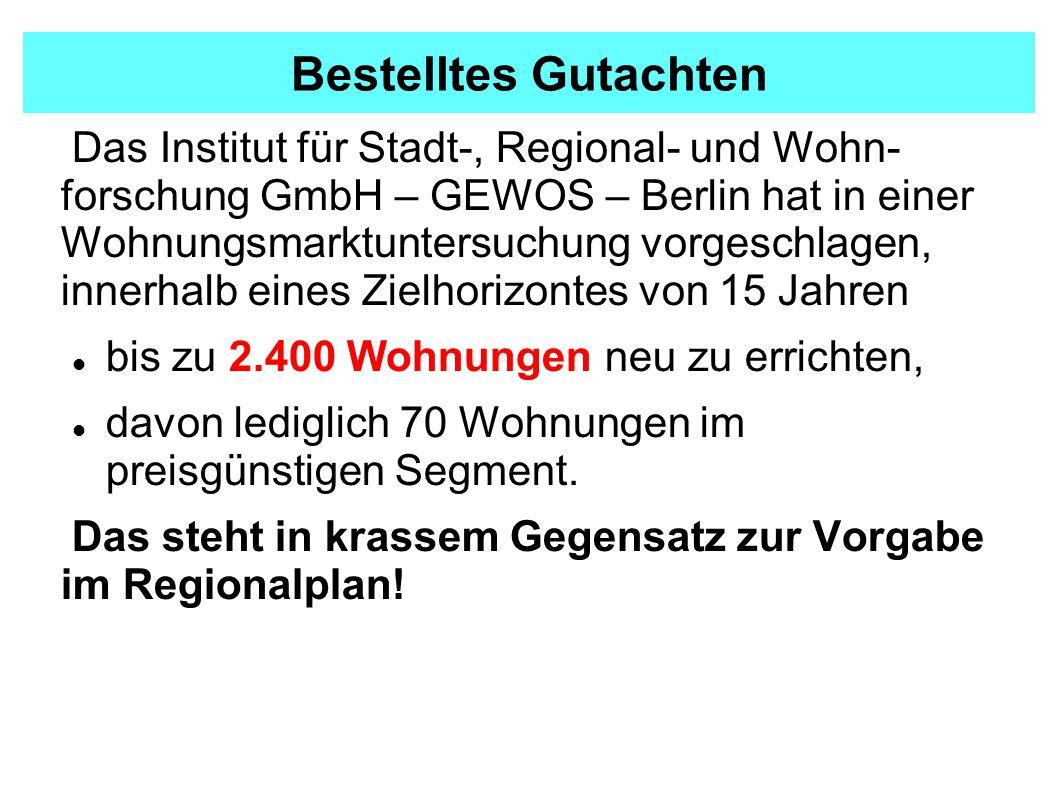 Bestelltes Gutachten Das Institut für Stadt-, Regional- und Wohn- forschung GmbH – GEWOS – Berlin hat in einer Wohnungsmarktuntersuchung vorgeschlagen, innerhalb eines Zielhorizontes von 15 Jahren bis zu 2.400 Wohnungen neu zu errichten, davon lediglich 70 Wohnungen im preisgünstigen Segment.