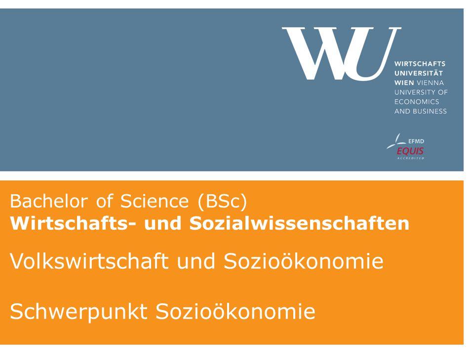 Bachelor of Science (BSc) Wirtschafts- und Sozialwissenschaften Volkswirtschaft und Sozioökonomie Schwerpunkt Sozioökonomie