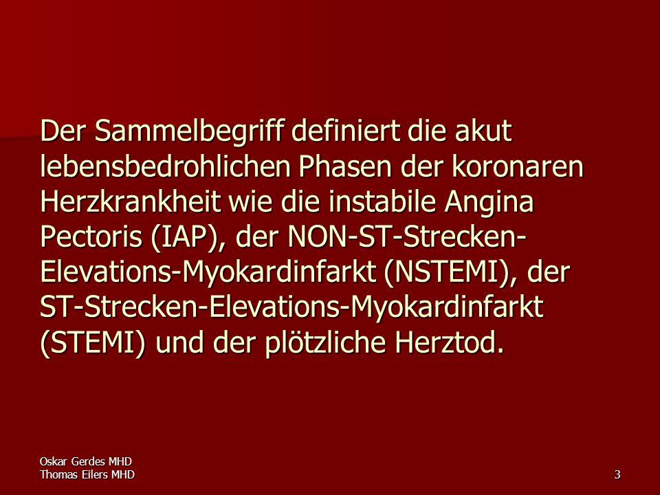 Oskar Gerdes MHD Thomas Eilers MHD4 Sie sind Folge des teilweise oder vollständigen Verschlusses einer oder mehrerer Koronararterien, meist im Rahmen einer atherosklerotischen Veränderung, bei der es zu einer O 2 -Unterversorgung des Herzmuskels kommt.
