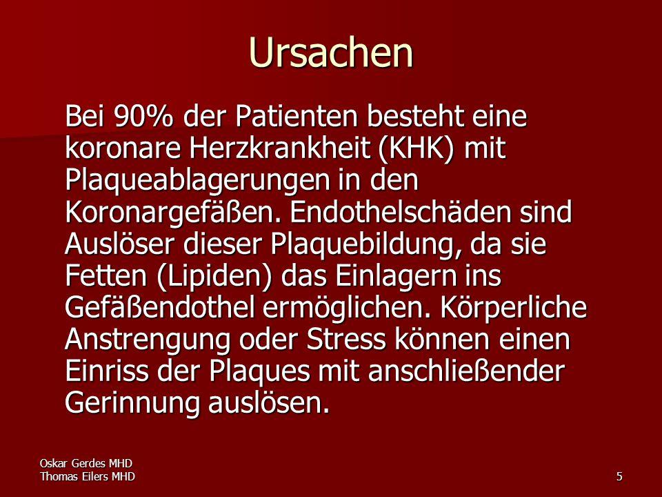 Oskar Gerdes MHD Thomas Eilers MHD5 Ursachen Bei 90% der Patienten besteht eine koronare Herzkrankheit (KHK) mit Plaqueablagerungen in den Koronargefä