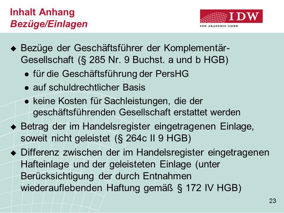23 Inhalt Anhang Bezüge/Einlagen  Bezüge der Geschäftsführer der Komplementär- Gesellschaft (§ 285 Nr.