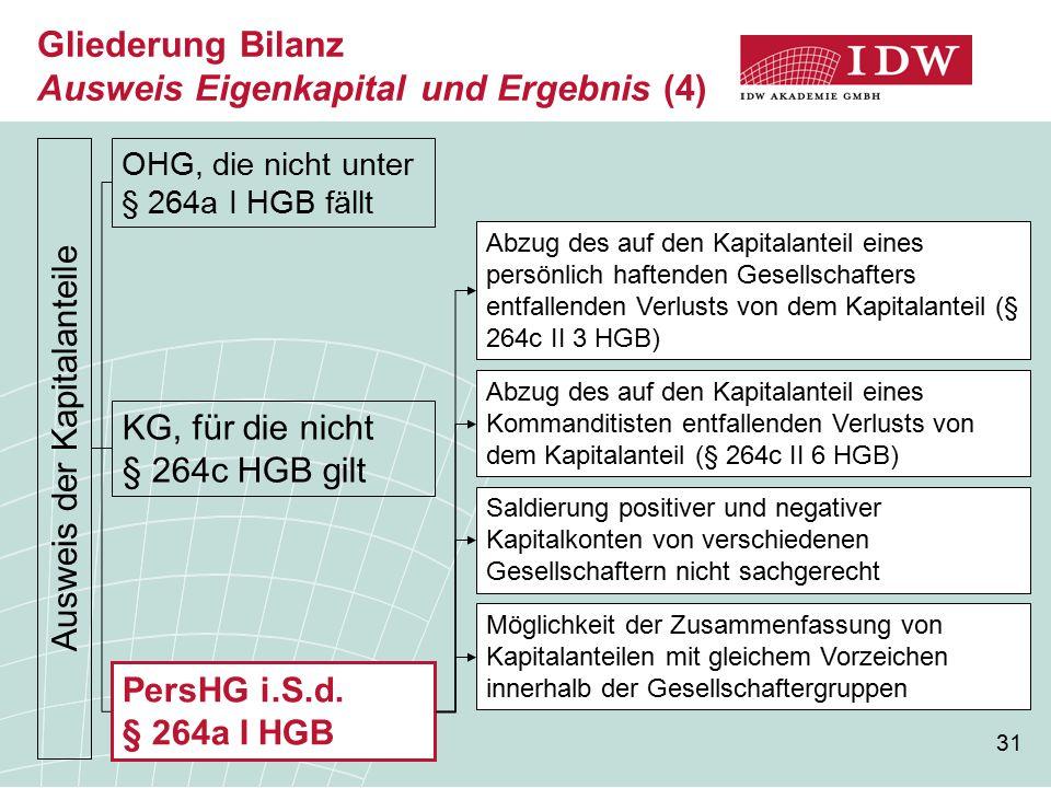 31 Gliederung Bilanz Ausweis Eigenkapital und Ergebnis (4) Ausweis der Kapitalanteile OHG, die nicht unter § 264a I HGB fällt KG, für die nicht § 264c HGB gilt PersHG i.S.d.