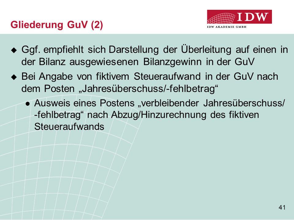41 Gliederung GuV (2)  Ggf.