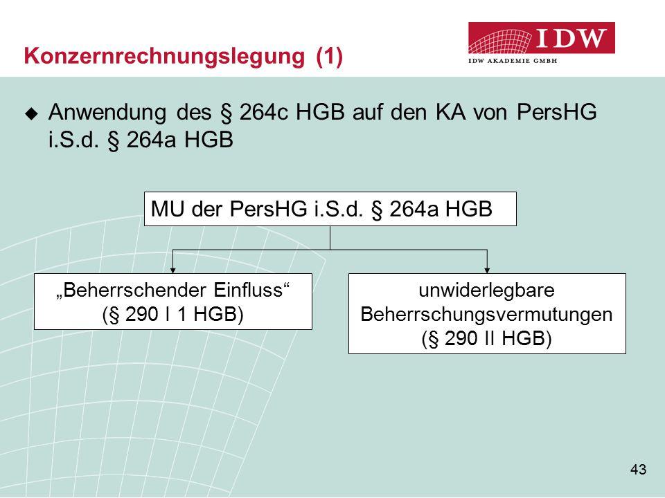 43 Konzernrechnungslegung (1)  Anwendung des § 264c HGB auf den KA von PersHG i.S.d.