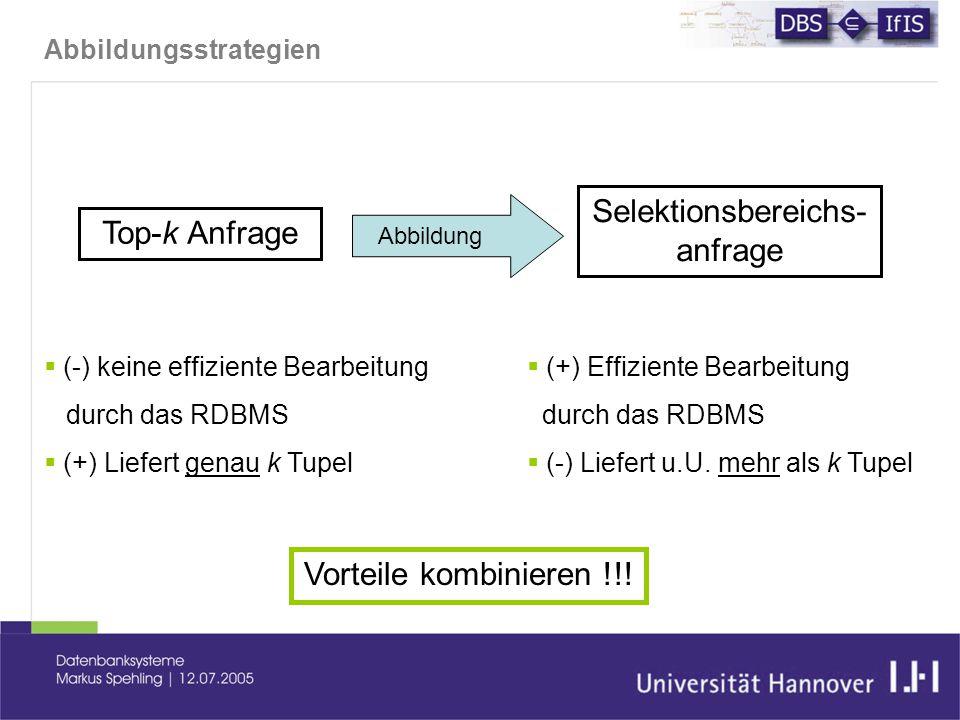 Abbildungsstrategien Top-k Anfrage Selektionsbereichs- anfrage  (+) Effiziente Bearbeitung durch das RDBMS  (-) Liefert u.U.