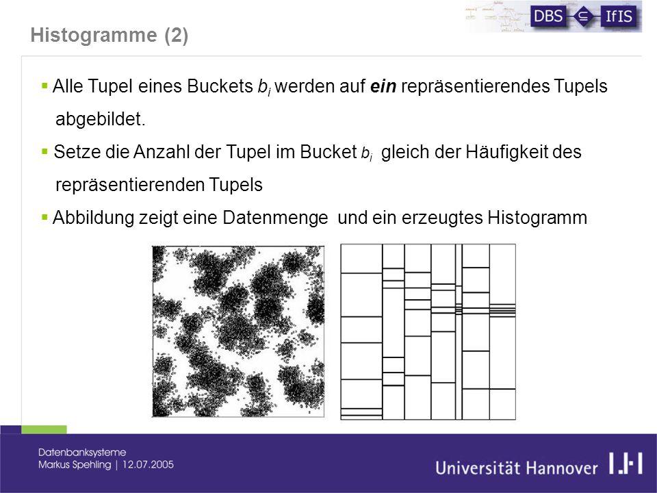 Histogramme (2)  Alle Tupel eines Buckets b i werden auf ein repräsentierendes Tupels abgebildet.