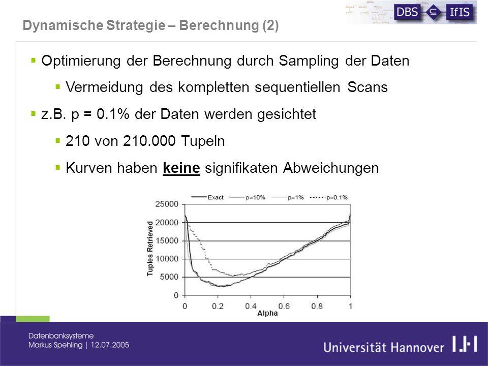 Dynamische Strategie – Berechnung (2)  Optimierung der Berechnung durch Sampling der Daten  Vermeidung des kompletten sequentiellen Scans  z.B.