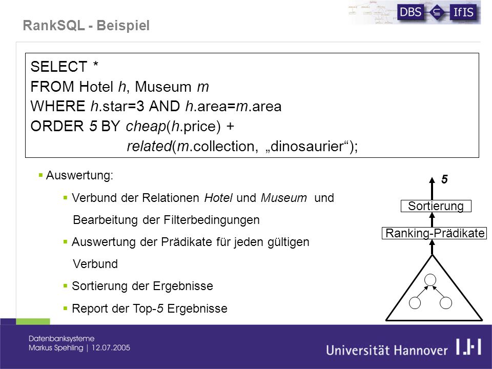 "RankSQL - Beispiel SELECT * FROM Hotel h, Museum m WHERE h.star=3 AND h.area=m.area ORDER 5 BY cheap(h.price) + related(m.collection, ""dinosaurier"");"
