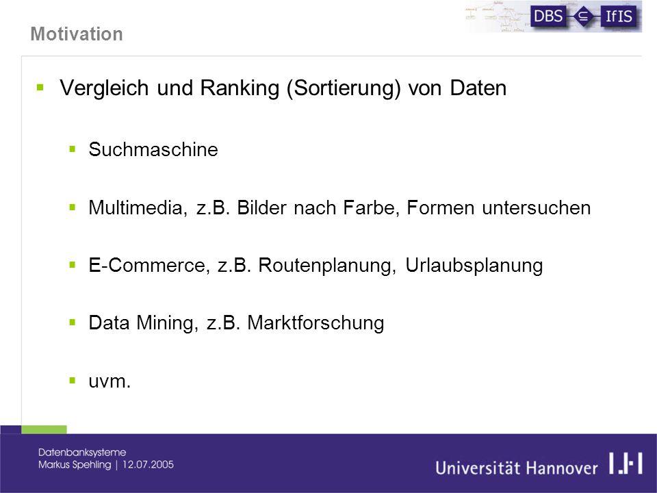 Motivation  Vergleich und Ranking (Sortierung) von Daten  Suchmaschine  Multimedia, z.B.